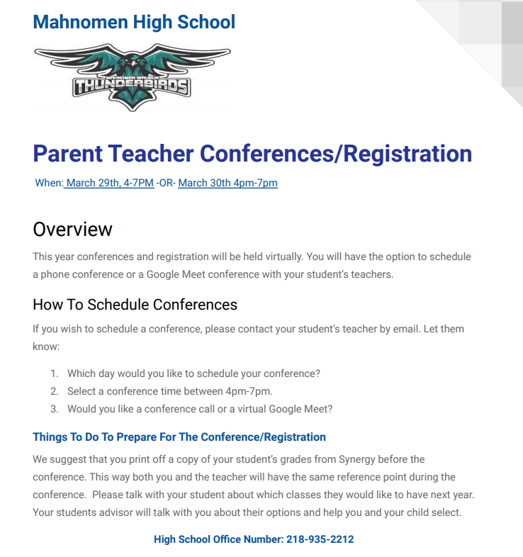 HS Conferences/Registration