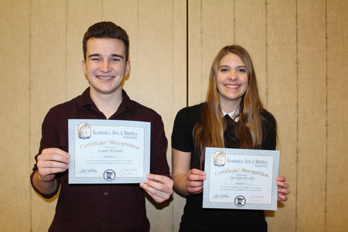 Mahnomen High School's Triple A Award winners Logan Kettner and Carolyn Pavlish.