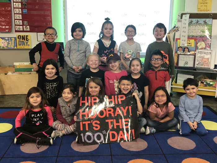 Mrs. Houdek Class celebrating the 100th day of school!