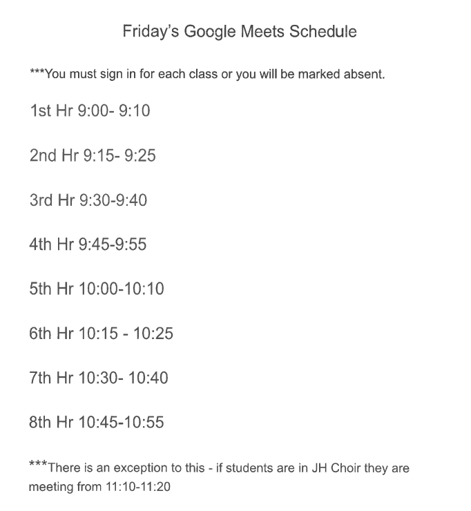 HS Friday Schedule