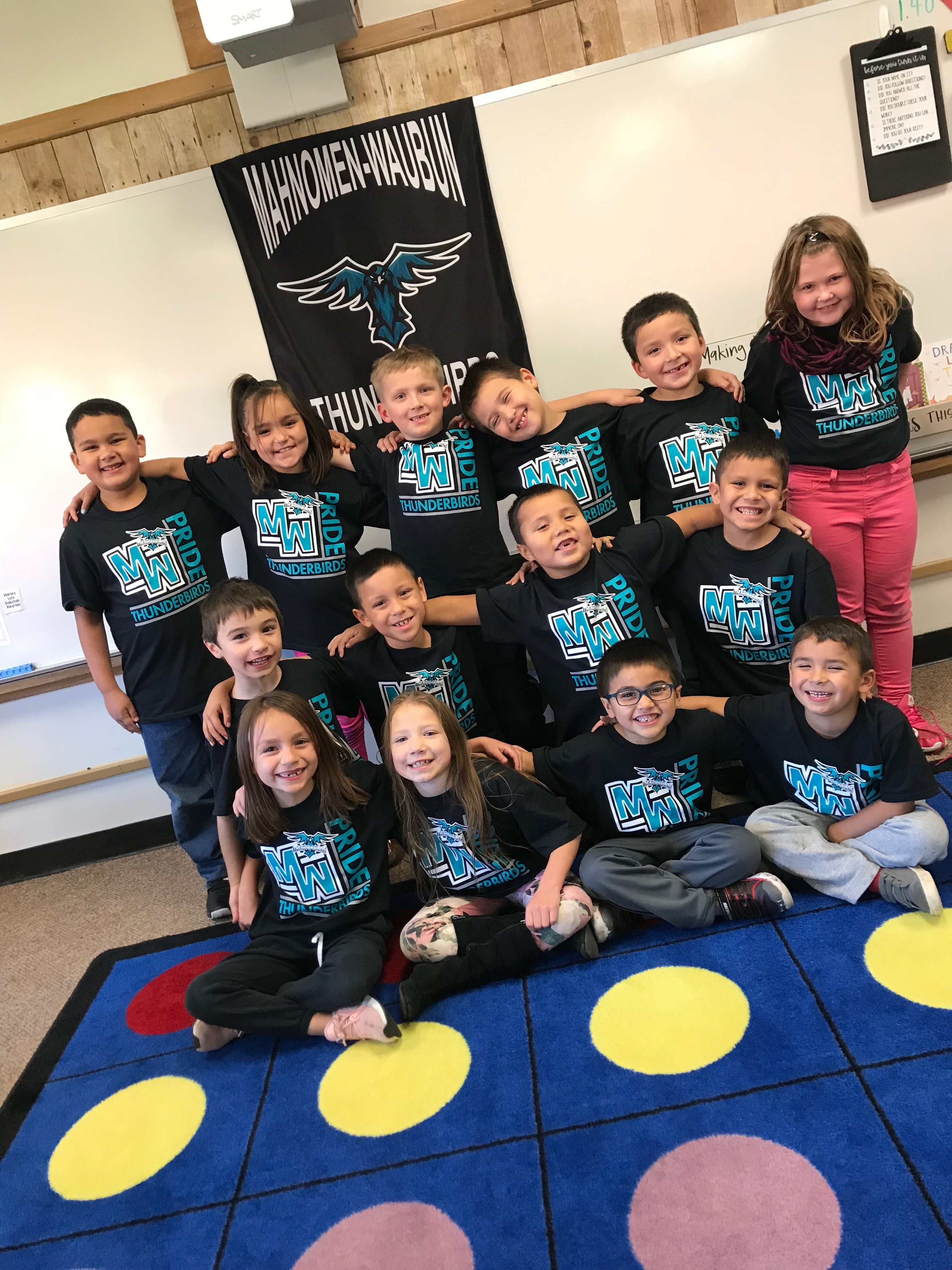 Elementary Students showing their thunderbird pride!